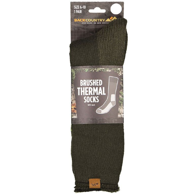 Back Country Men's Brushed Thermal Socks 1 Pack, Green, hi-res image number null