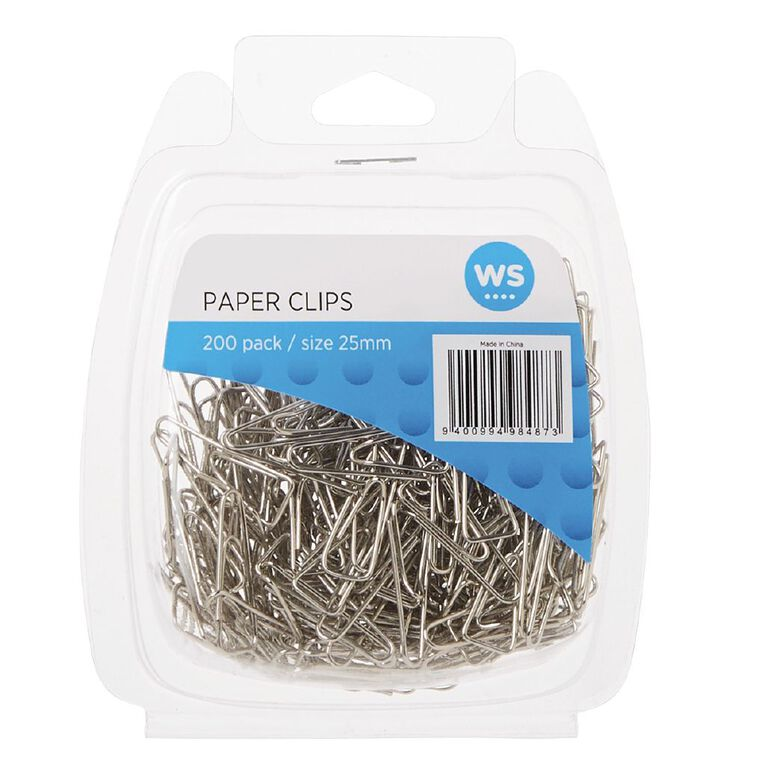 WS Paper Clips Triangular 25mm 200 Pack Silver, , hi-res