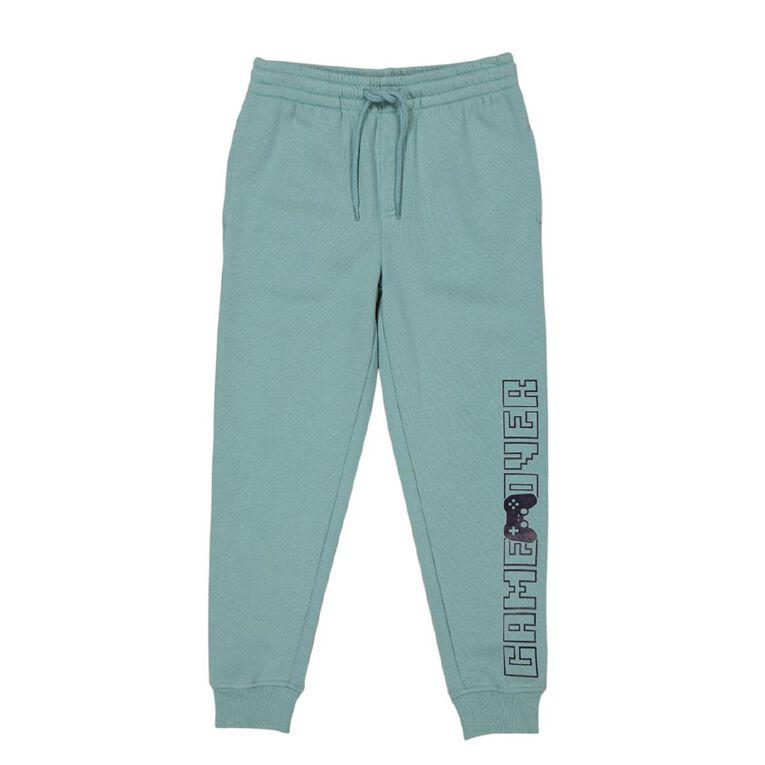 Young Original Print Leg Trackpants, Turquoise, hi-res