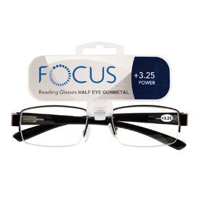 Focus Reading Glasses Half Eye Gunmetal 3.25