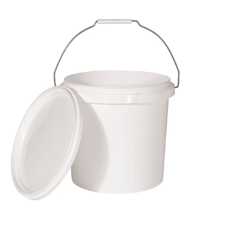Living & Co Pail with Lid White 10L, , hi-res
