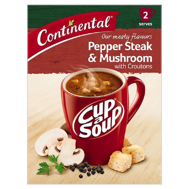 Continental Cup A Soup Peppersteak & Mushroom 2 Pack 52g, , hi-res
