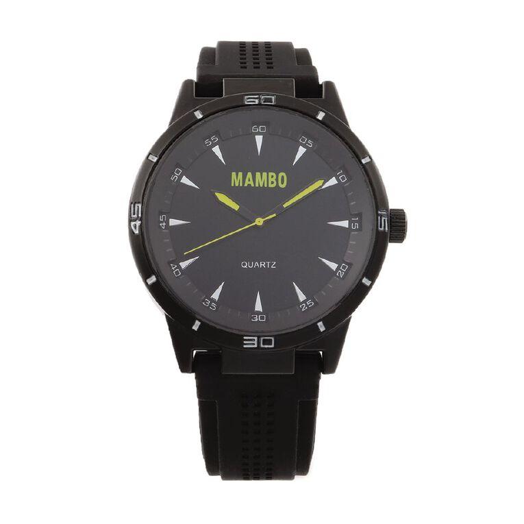 Mambo Mens Analogue Silicone Strap Watch - Black, , hi-res