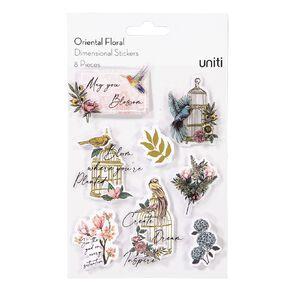 Uniti Oriental Floral Dimensional Stickers 8 Pieces