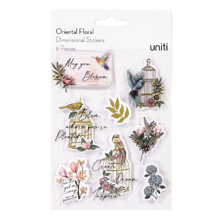 Uniti Oriental Floral Dimensional Stickers 8 Pieces, , hi-res
