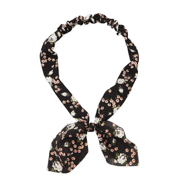 Soft Headband With Bow Black, , hi-res