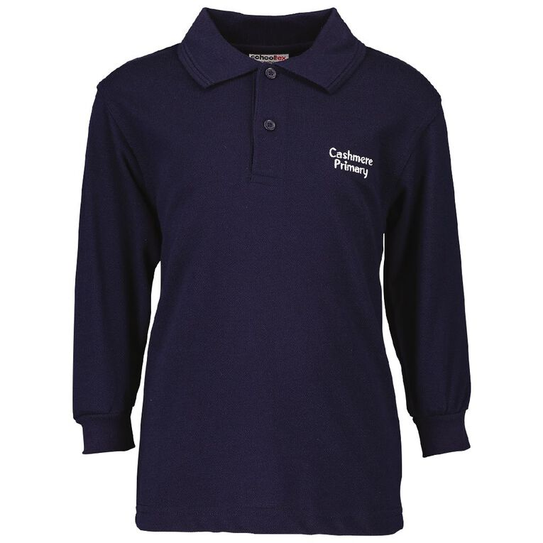 Schooltex Cashmere Primary School Long Sleeve Polo with Embroidery, Navy, hi-res