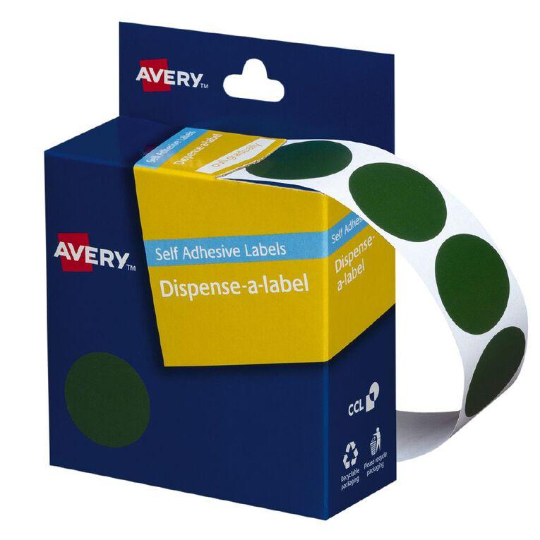 Avery Green Dispenser Dot Stickers 24mm diameter 500 Labels, , hi-res