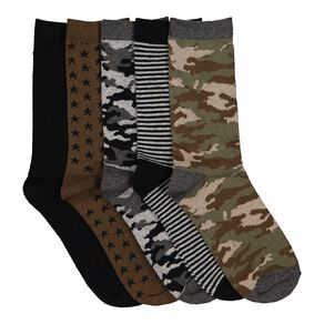 H&H Boys' Jacquard Crew Socks 5 Pack