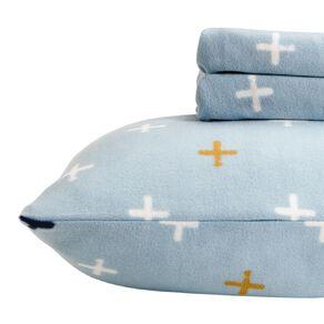 Living & Co Kids Sheet Set Polar Flannel Crosses Sky Blue Single
