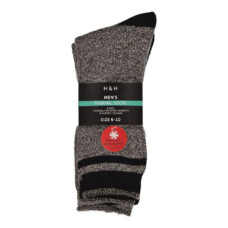 H&H Men's Thermal Socks 3 Pack, Black, hi-res