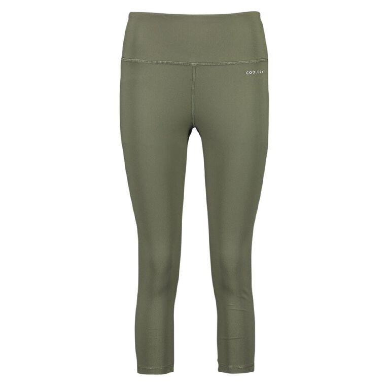 Active Intent Women's Cooldry Crop Leggings, Green Dark, hi-res