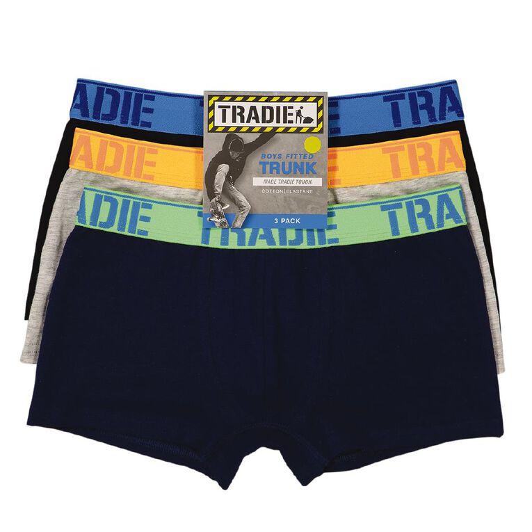 Tradie Boys' Trunks 3 Pack, Navy, hi-res