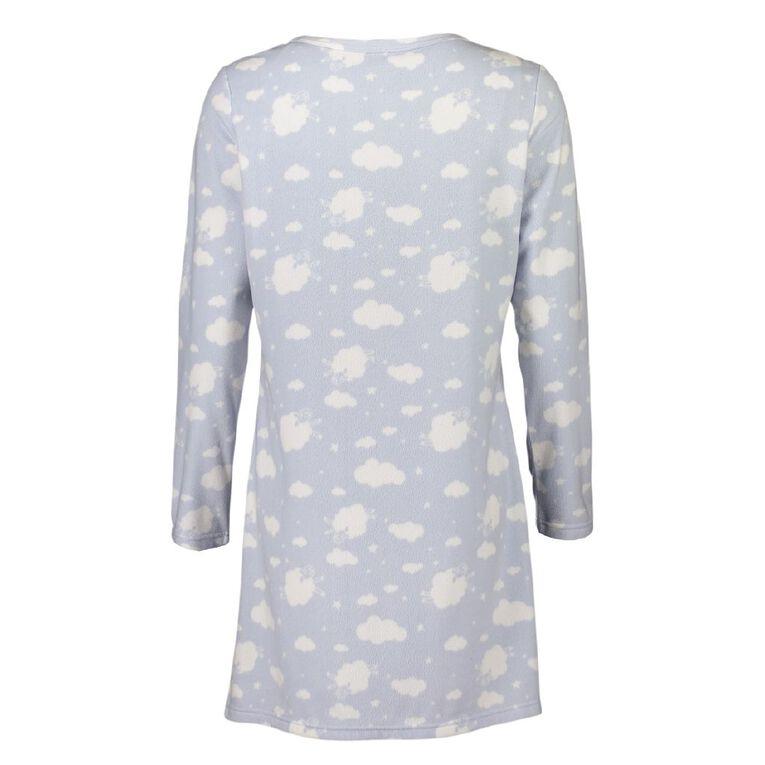 H&H Women's Fleece Long Sleeves Nightie, Blue, hi-res