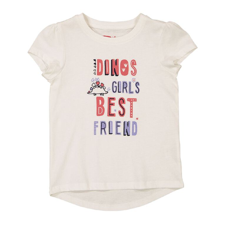 Young Original Girls' Short Sleeve Essential Print Tee, White, hi-res