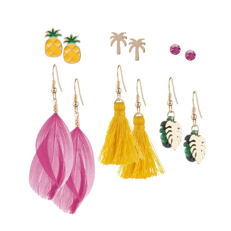 Basics Stud Tropical Pineapple Palm Earring 6 Pairs, Multi-Coloured, hi-res