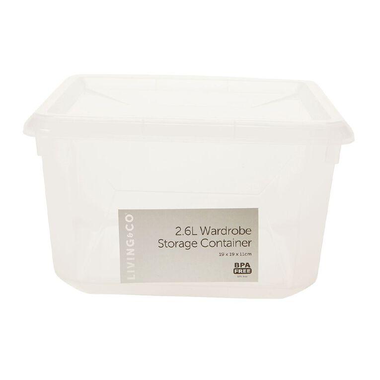 Living & Co Wardrobe Storage Clear 2.6L, , hi-res