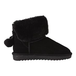 H&H Suede Pom Pom Slipper Boots