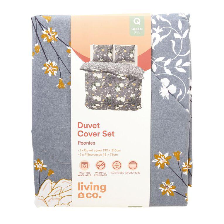 Living & Co Duvet Cover Set Microfibre Peonies Blue Single, Blue, hi-res