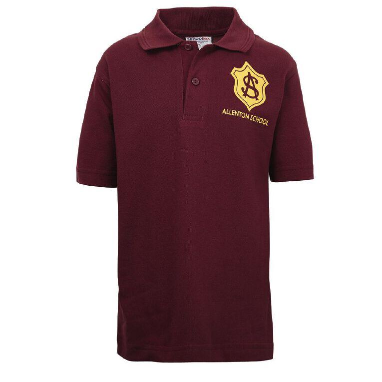 Schooltex Allenton Short Sleeve Polo with Transfer, Burgundy, hi-res