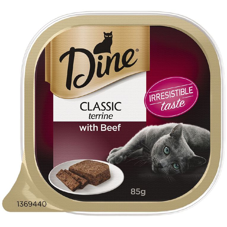 Dine Wet Cat Food Classic Terrine With Beef 85g Tray, , hi-res
