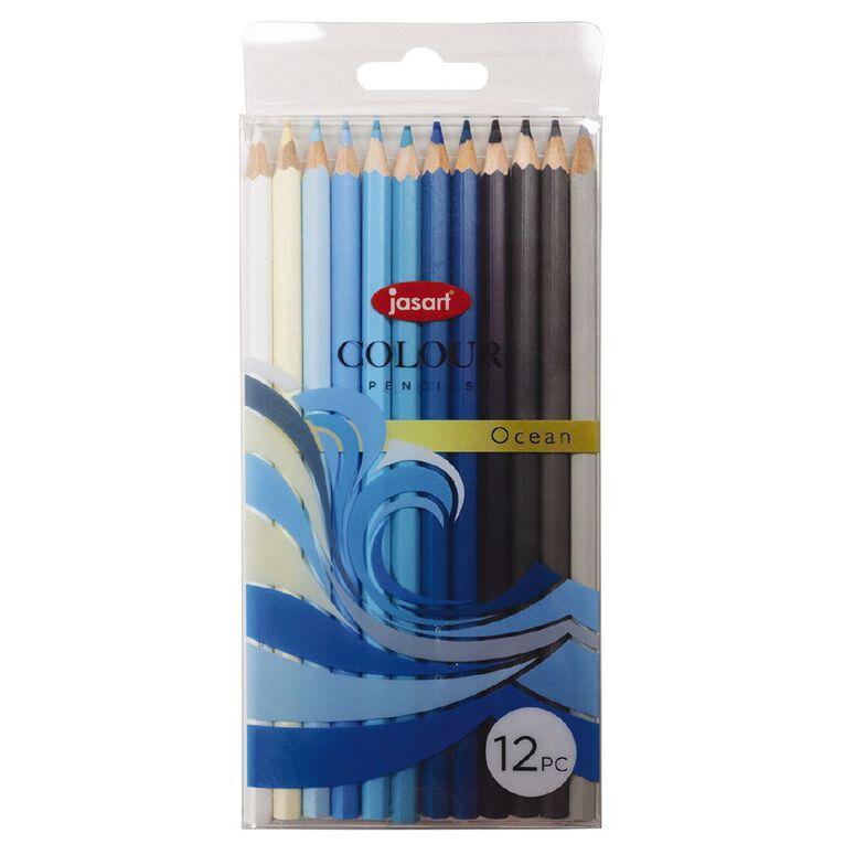 Jasart Studio Coloured Pencils Ocean 12 Pack, , hi-res