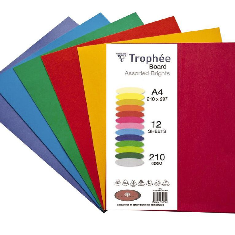 Trophee Board 210gsm 12 Pack Brights Assorted A4, , hi-res