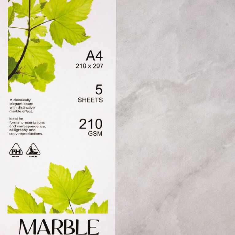 Direct Paper Marble Paper 210gsm 5 Pack White A4, , hi-res