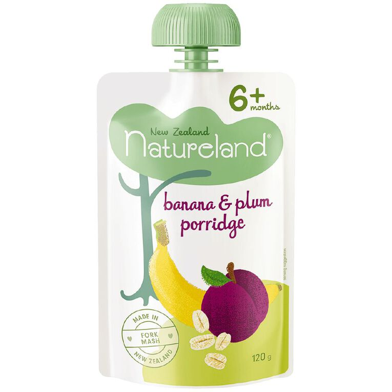 Natureland Banana and Plum Porridge Pouch 120g, , hi-res