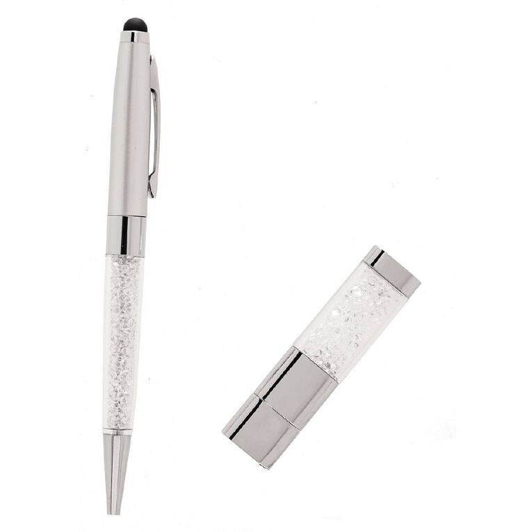 J Lili Silver Tone Crystal Pen & 4GB Set, , hi-res image number null
