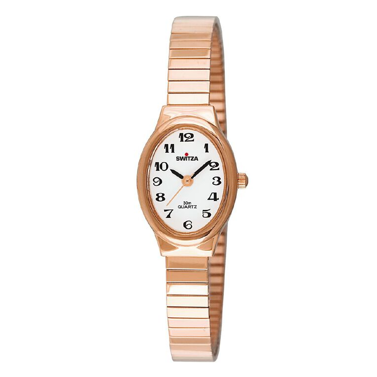 Switza Ladies Stainless Steel Gold Oval Watch, , hi-res