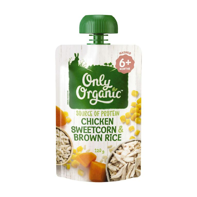 Only Organic Chicken Sweetcorn & Brown Rice 120g, , hi-res