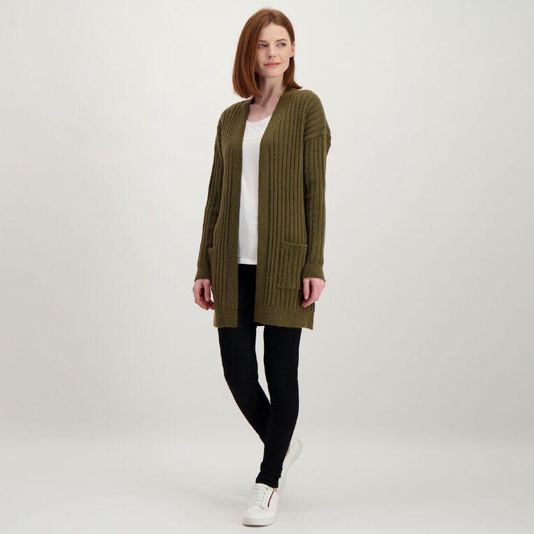 H&H Longline Spongy Knit Cardigan, Khaki, hi-res