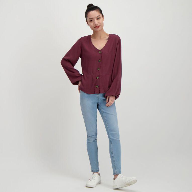 H&H Women's Tort Button Twill Blouse, Red Dark, hi-res