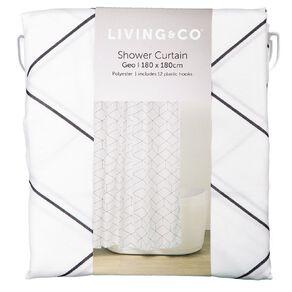 Living & Co Shower Curtain Geo White 180cm x 180cm