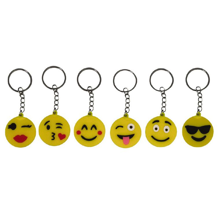 Party Inc Party Favours Smiley Face Keyrings 6 Pack, , hi-res
