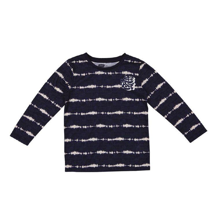 Young Original Long Sleeve Sublimation Print Tee, Navy, hi-res