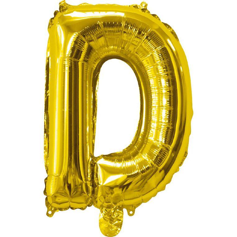 Artwrap Foil Balloon D Gold 35cm, , hi-res