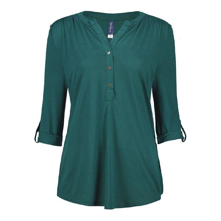 Pickaberry Women's Henley Top, Green Dark, hi-res