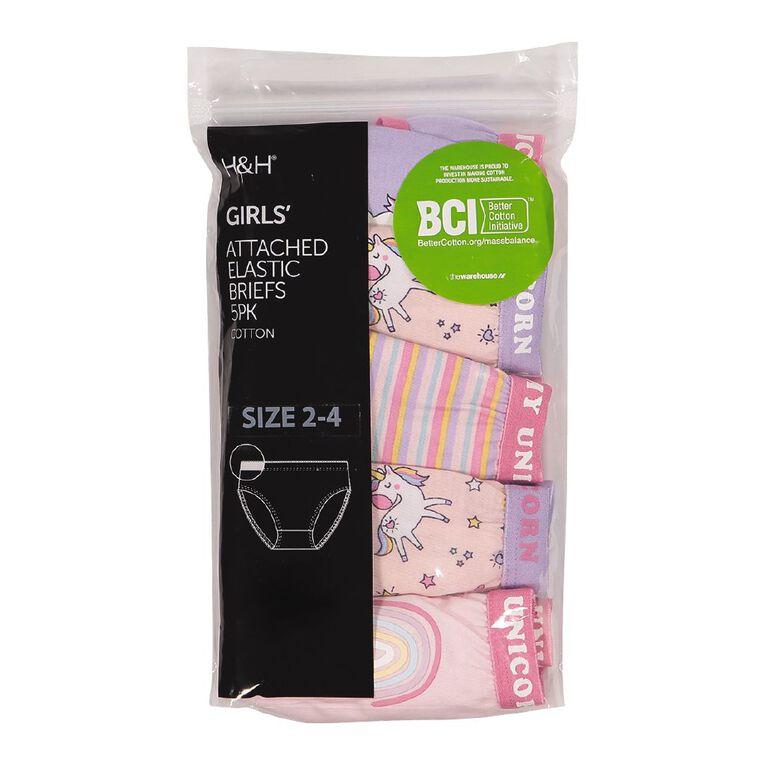 H&H Girls' Brief 5 Pack, Pink Light, hi-res