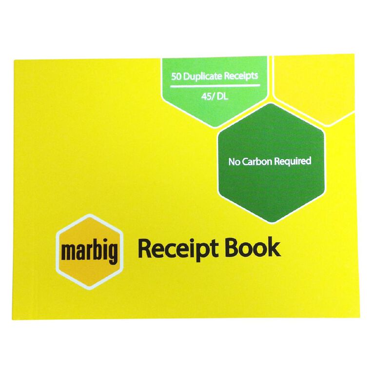 Marbig Receipt Book 45 Duplicate 50 Leaf Yellow, , hi-res image number null