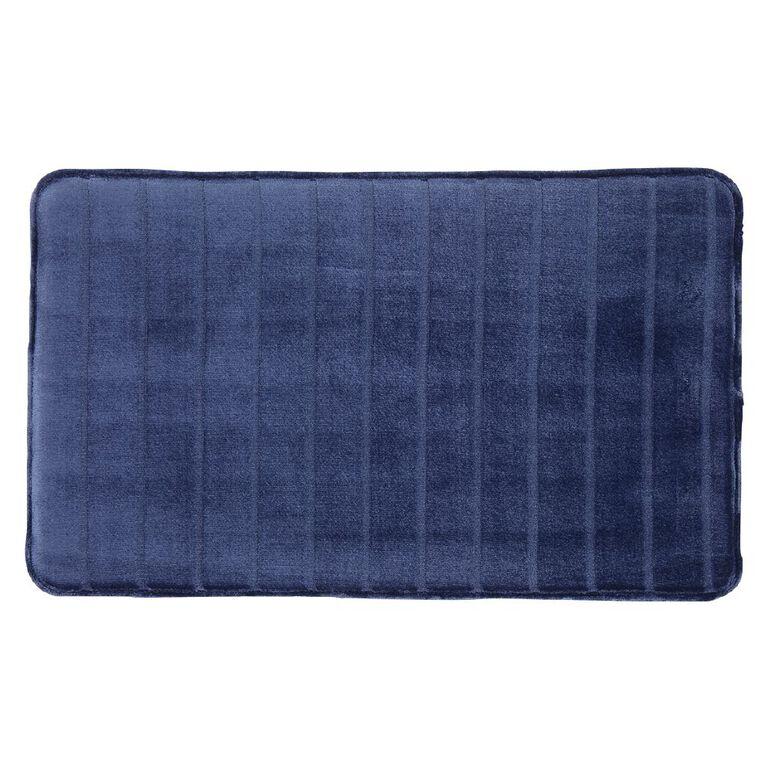 Living & Co Bath Mat Memory Foam Denim 45cm x 75cm, Denim, hi-res