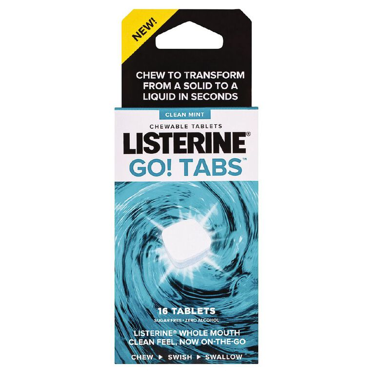 Listerine Go! Tabs Chewable Tablets Clean Mint 16 Pack, , hi-res