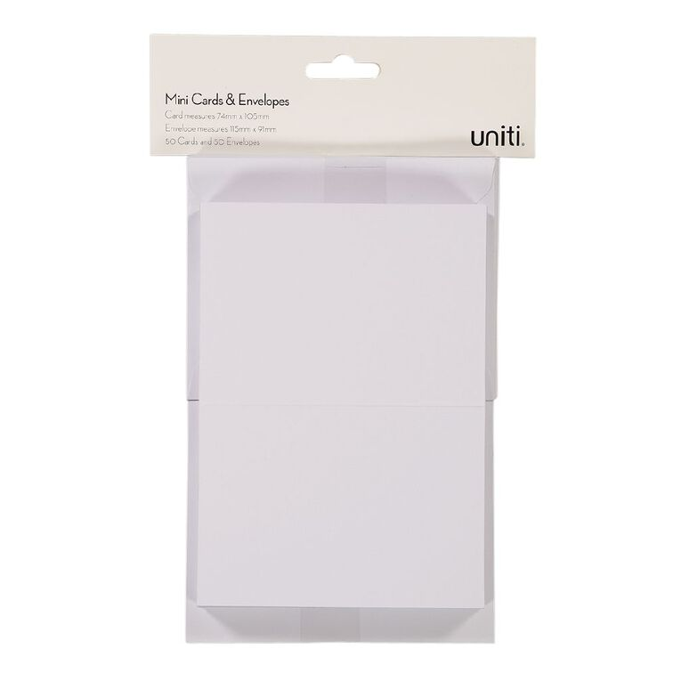 Uniti Mini Cards & Envelopes White 50 Pack, , hi-res
