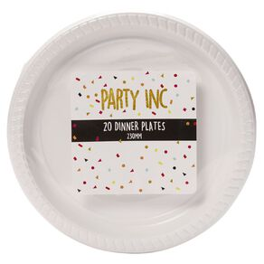 Party Inc Dinner Plates White 230mm 20 Pack