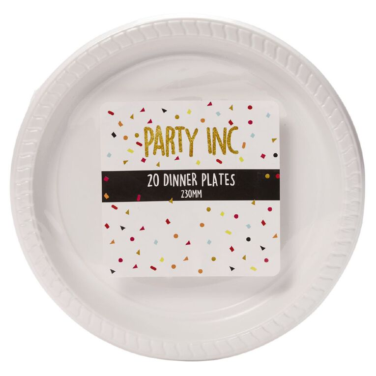 Party Inc Dinner Plates White 230mm 20 Pack, , hi-res