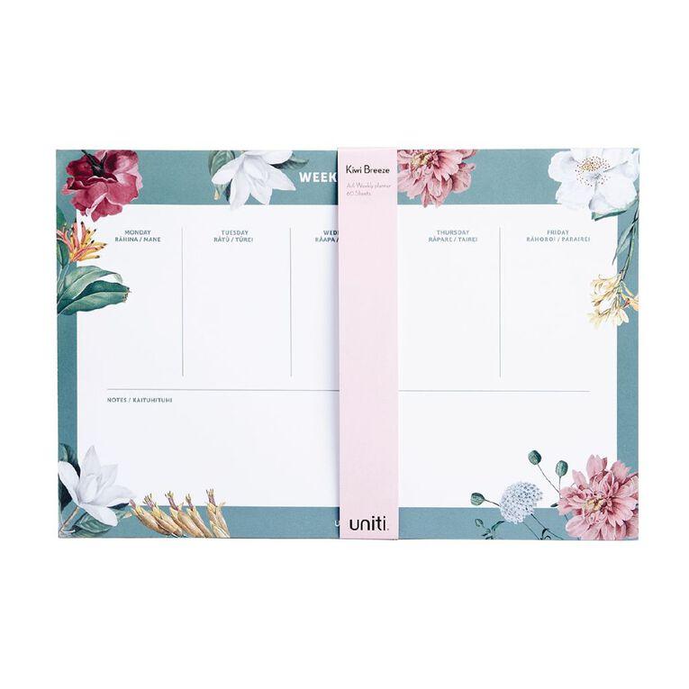 Uniti Kiwi Breeze Desk Planner Weekly List Green A4, , hi-res