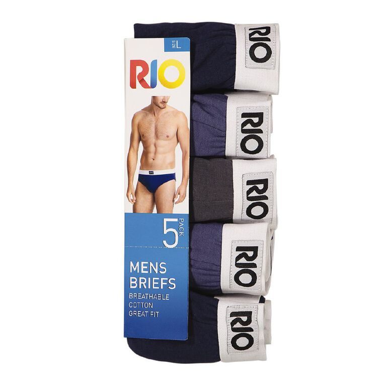 Rio Men's Attached Elastic Briefs 5 Pack, Grey/Navy, hi-res image number null
