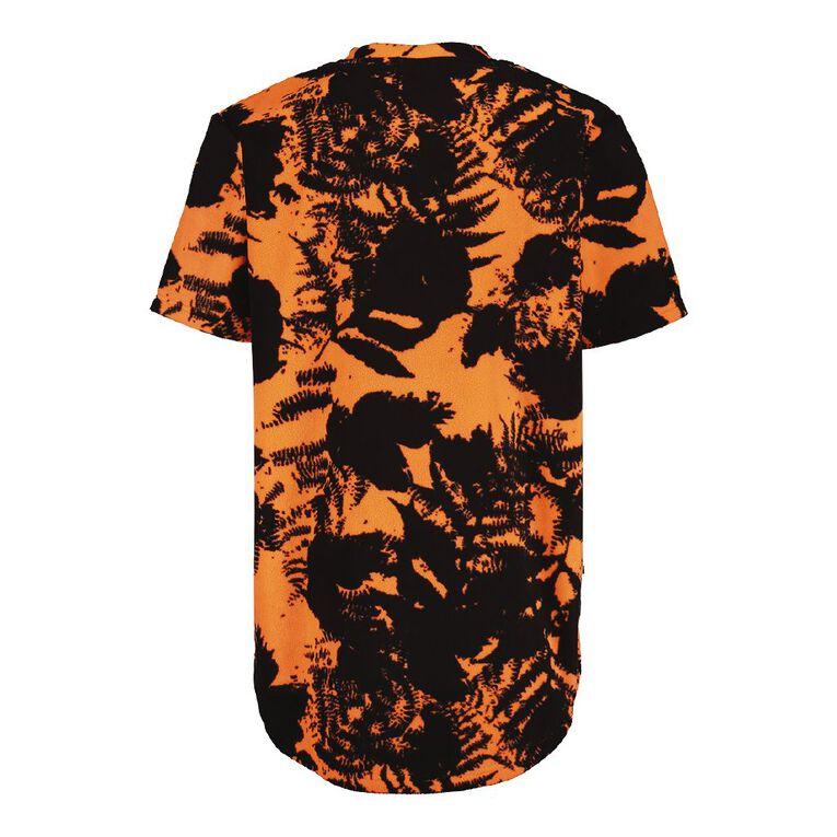 Back Country Camo Fleece Short Sleeve Tee, Orange/Fluro, hi-res