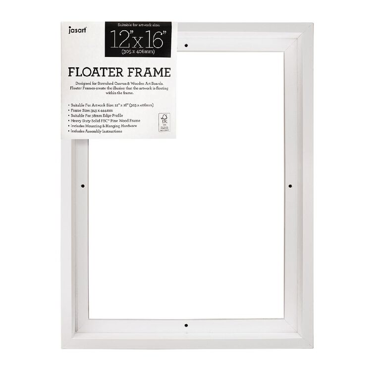 Jasart Floater Frame Thick Edge 12x16 Inches White, , hi-res